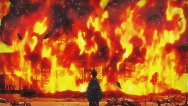 Kyousougiga / Capital Craze anime Episode 6 - Yakushimaru's house burns