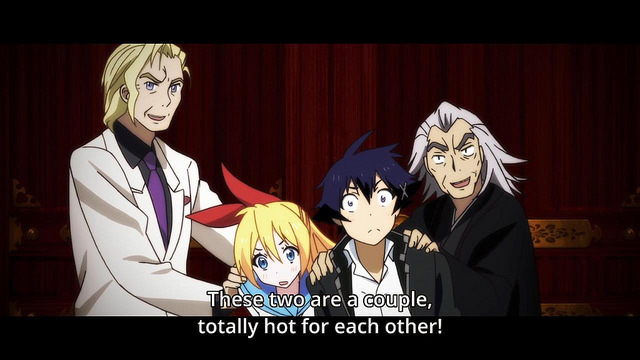 Nisekoi anime review -Kirisaki Chitoge and Ichijou Raku thrust together