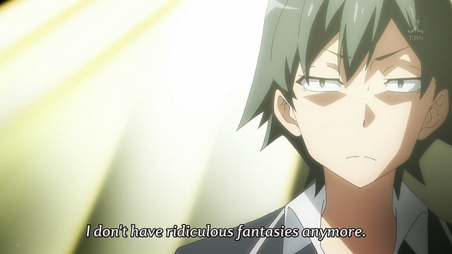 Hikigaya Hachiman from OreGairu has a bleak outlook.