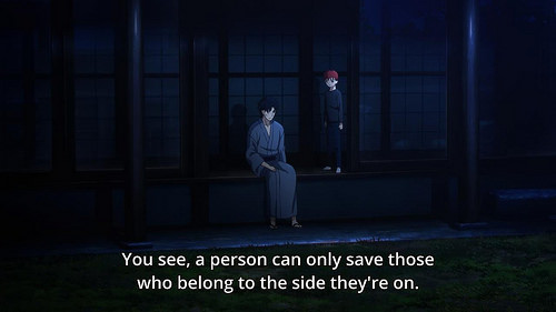 Fate/Stay Night Unlimited Blade Works (TV) anime episode 1 notes - Emiya Kiritsugu explains to Emiya Shirou the nature of heroes