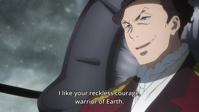 Aldnoah.Zero anime episode 12 notes - Count Saazbaum the mocking Martian