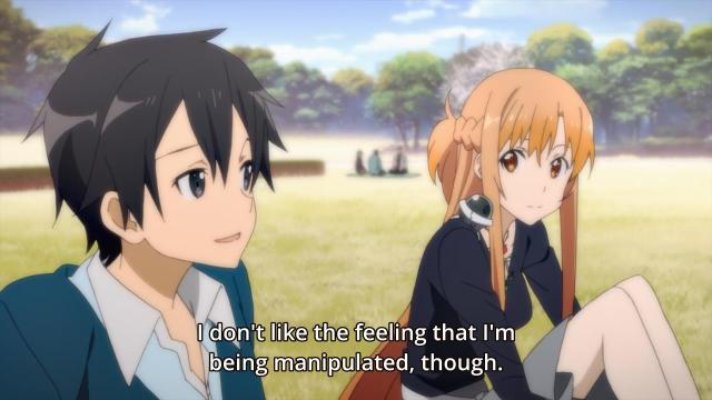 Sword Art Online II Anime - Asuna and Kirito chatting