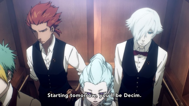 Death Parade anime episode 7 notes - Decim, Ginto and Nona. Assuming the role.