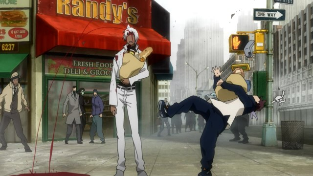 Kekkai Sensen / Blood Blockade Battlefront anime episode 4 - Leonardo Watch and Zapp Renfro run into Lucky Abraham
