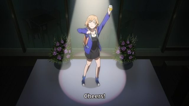 Shirobako episode 24 - Miyamori Aoi toasts - Top anime shows of 2015