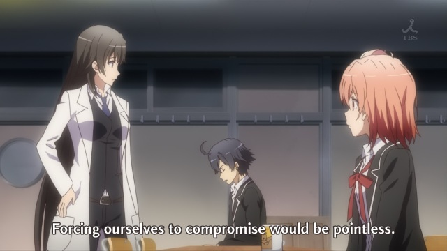 OreGairu S2 episode 3 anime notes - Hikigaya Hachiman doesn't believe in compromises