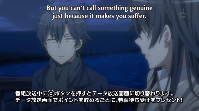 OreGairu S2 episode 8 anime - Hiratsuka Shizuka Sensei and Hikigaya Hachiman discuss genuine things