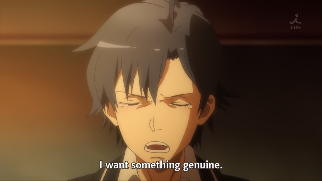 OreGairu S2 episode 8 anime - Crying Hikigaya Hachiman wants something genuine
