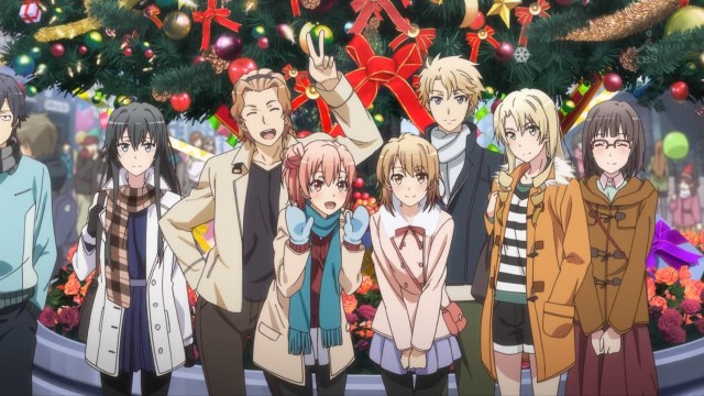 OreGairu S2 episode 9 anime notes - Hikigaya Hachiman is outside of the group shot's frame