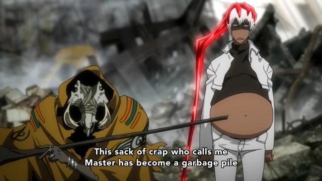 Kekkai Sensen / Blood Blockade Battlefront anime episode 8 overview - Zapp Renfro getting mocked by his master