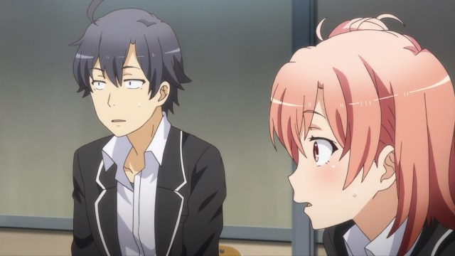 OreGairu S2 episode 11 anime notes - Hikigaya Hachiman and Yuigahama Yui look amazed at Iroha's brazen question