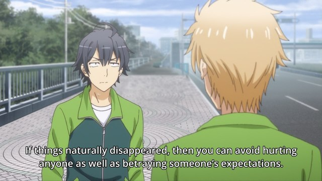 OreGairu S2 episode 11 anime notes - Hikigaya Hachiman gives Hayama Hayato bad true advice