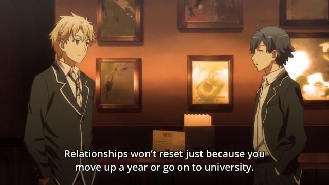OreGairu S2 episode 11 anime notes - Hayama Hayato explains relationships to Hikigaya Hachiman
