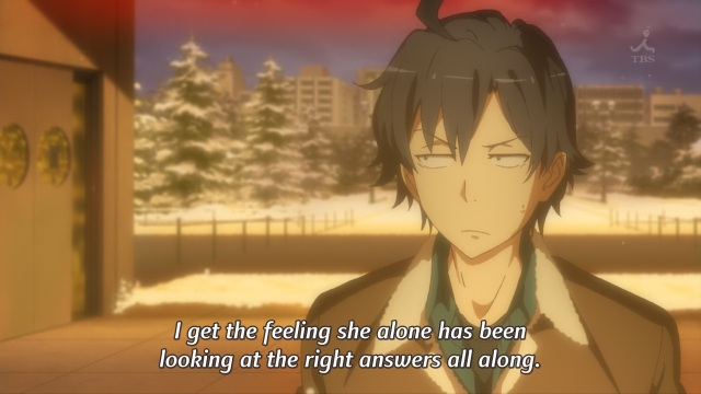 OreGairu S2 episode 13 anime notes - Hikigaya Hachiman reflects on Yui's mindset