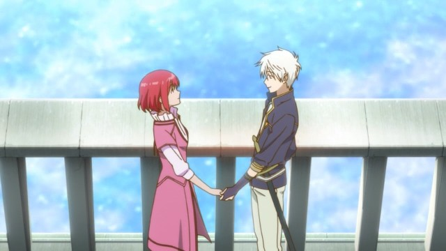 Akagami no Shirayuki Hime / Snow White With The Red Hair anime episode 2 - Zen Wistalia Clarines and Shirayuki holding hands