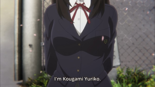 Beautiful Bones - Sakurako's Investigation/ Sakurako-san no Ashimoto ni wa Shitai ga Umatteiru anime episode 1 - Kougami Yuriko introduced by her breasts