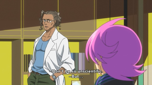Concrete Revolutio: Choujin Gensou anime Episode 3 notes - Hitoyoshi Magotake tells Hitoyoshi Jirou to be scientific