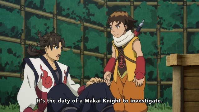 Garo: The Crimson Moon / Garo: Guren no Tsuki anime Episode 1 overview - Raikou tells Kintaro of his duty.