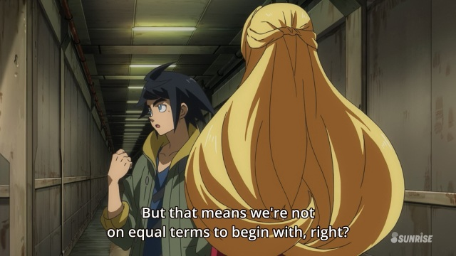 Mobile Suit Gundam Iron-Blooded Orphans anime / Kidou Senshi Gundam: Tekketsu no Orphans anime episode 1 - Mikazuki Augus and Kudelia Aina Bernstein aren't equal
