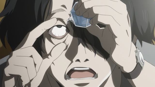 Subete ga F ni Naru: The Perfect Insider Anime Episode 1 notes - Saikawa Sohei puts in eyedrops