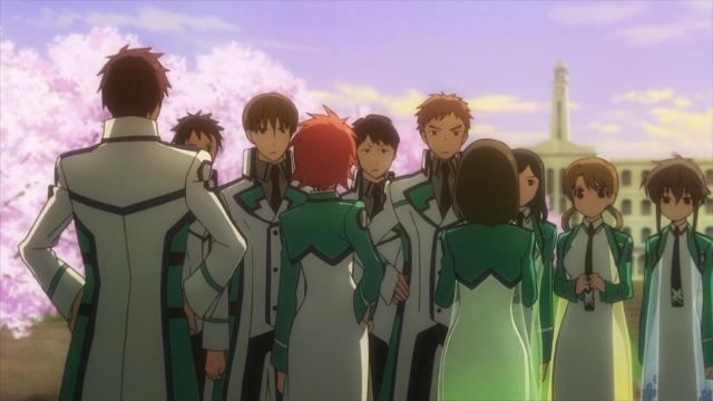 Mahouka Koukou no Rettousei / The Irregular at Magic High School episode 1 - Standoff, Shibata Mizuki, Morisaki, Saijou Leonheart, Chiba Erika, Mitsui Honoka, Shizuku