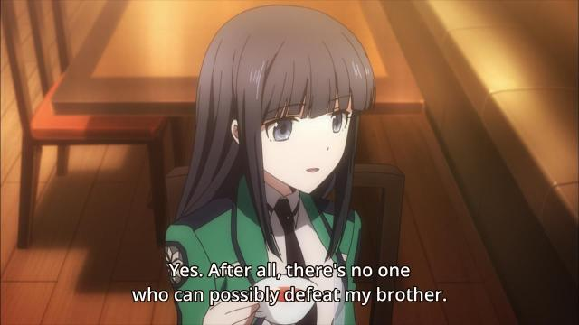 Mahouka Koukou no Rettousei anime episode 4 notes / The Irregular at Magic High School anime episode 4 notes - Shiba Miyuki knows onii-sama is perfect