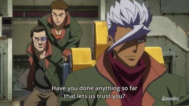 Mobile Suit Gundam Iron-Blooded Orphans anime / Kidou Senshi Gundam: Tekketsu no Orphans anime episode 5 - Itsuka Orga doesn't trust Mirkonen Todo