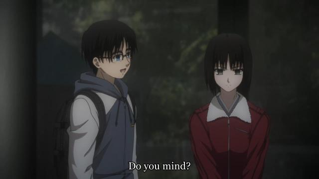 Kara no Kyoukai 2 / Garden of Sinners - Murder Speculation / Satsujin Kousatsu (Part 1) anime - Ryougi Shiki and Kokutou Mikiya