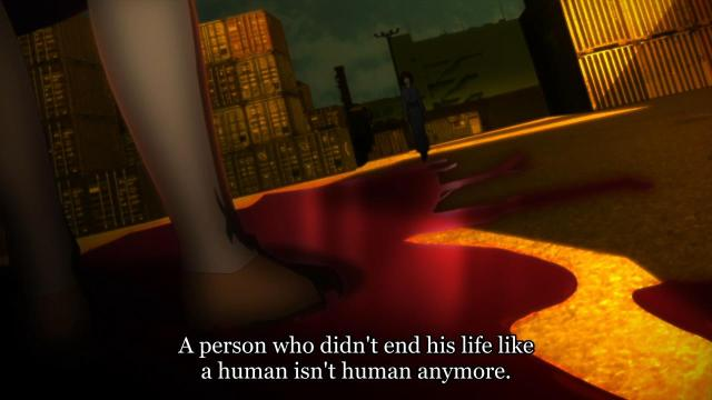 Kara no Kyoukai 3 / Garden of Sinners - Remaining Sense of Pain / Tsuukaku Zanryuu anime - Ryougi Shiki on human death