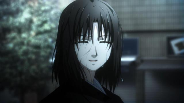 Kara no Kyoukai 3 / Garden of Sinners - Remaining Sense of Pain / Tsuukaku Zanryuu anime - Ryougi Shiki in the rain