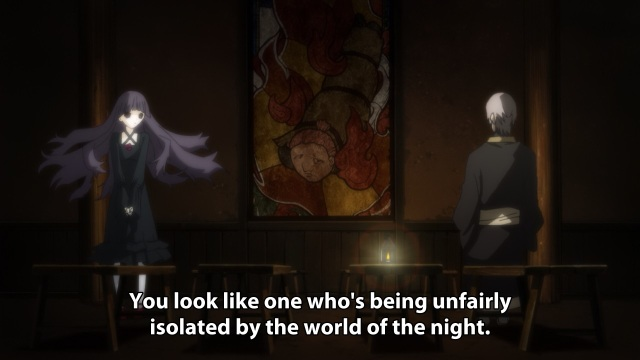 Shiki anime review episode 8 - Muroi Seishin tells Kirishiki Sunako she seems isolated by the night.