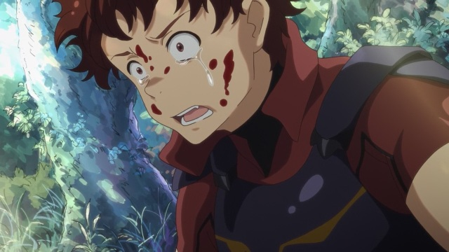 Hai to Gensou no Grimgar / Grimgar of Fantasy and Ash anime Episode 2 - Ranta crying and sputtered in blood