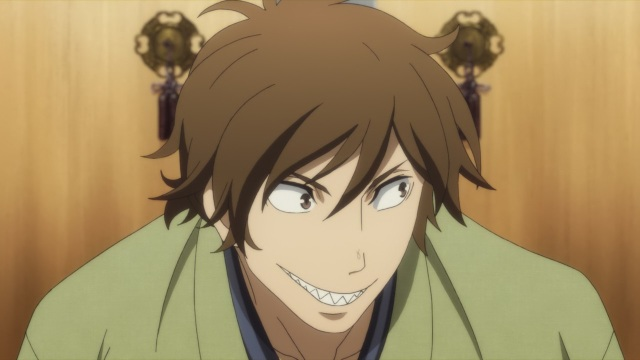 Shouwa Genroku Rakugo Shinju anime Episode 1 overview - Yotaro's toothy smile in the performance