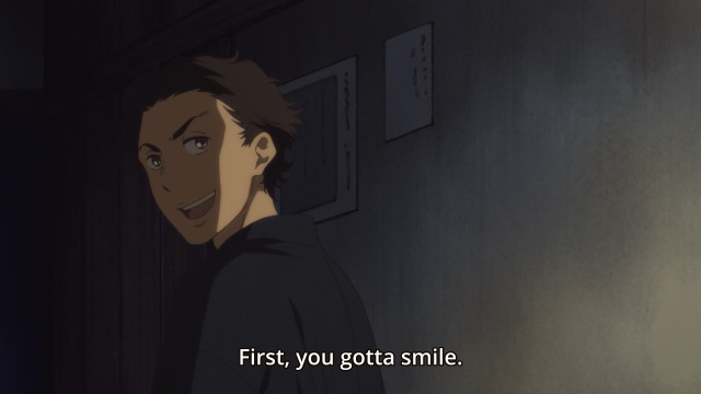 Shouwa Genroku Rakugo Shinju anime Episode 2 - Sukeroku tells Yakumo to smile