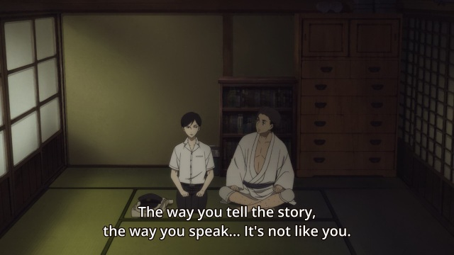 Shouwa Genroku Rakugo Shinju anime Episode 3 - Sukeroku tells Yakumo he doesn't sound like himself