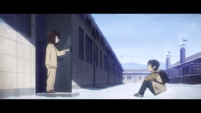 Boku dake ga Inai Machi / ERASED anime Episode 4 - Fujinuma Satorou awaits Hinazuki Kayo in the snow