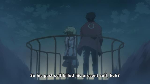 Dimension W anime Episode 5 - Mabuchi Kyouma and Yurizaki Mira philosophize