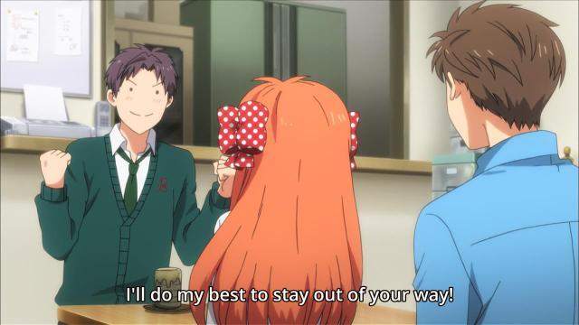 Gekkan Shoujo Nozaki-kun anime Episode 6 - Wakamatsu Hirotaka promises to stay out of Hori Masayuki's way