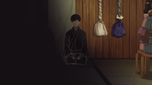 Shouwa Genroku Rakugo Shinju anime Episode 6 notes - Kikuhiko/Bon drawn into the theatre