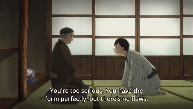 Shouwa Genroku Rakugo Shinju anime Episode 4 - Yakumo being taught about flaws