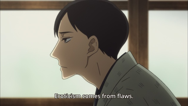 Shouwa Genroku Rakugo Shinju anime Episode 4 - Yakumo being taught eroticism stems from flaws