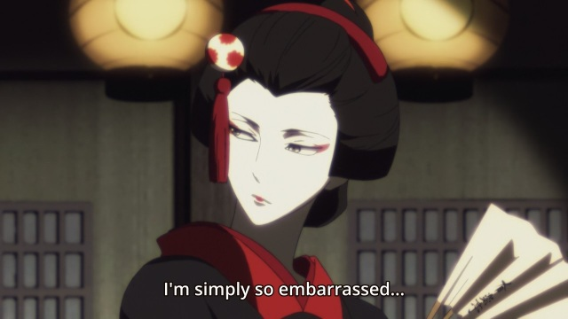 Shouwa Genroku Rakugo Shinju anime Episode 5 - Cross-dressed Yakumo/Kiku/Bon is embarrassed