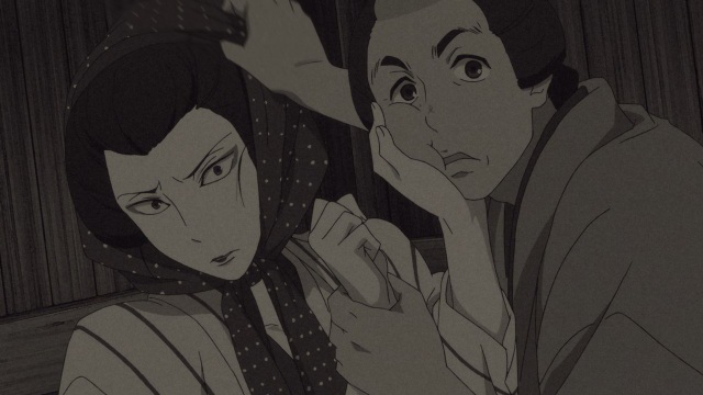 Shouwa Genroku Rakugo Shinju anime Episode 5 overview - Sukeroku and Yakumo after their performance, cross-dressing Kikuhiko