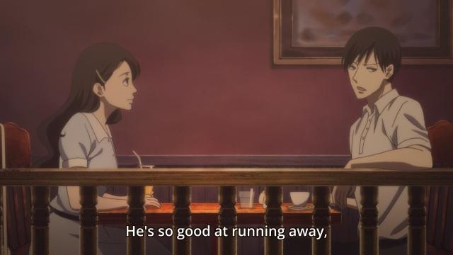 Shouwa Genroku Rakugo Shinju anime Episode 7 notes - Miyokichi and Bon/Kikuhiko discussing Shin/Sukeroku being good at running away