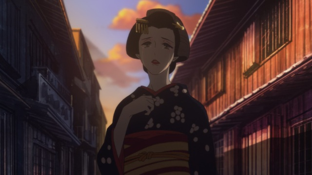 Shouwa Genroku Rakugo Shinju anime Episode 7 - Tearful Miyokichi looking after Bon/Kikuhiko