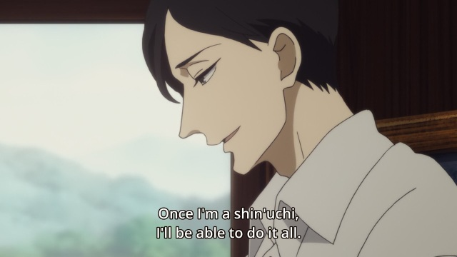 Shouwa Genroku Rakugo Shinju anime Episode 8 notes - Yakumo (Kikuhiko/Bon) dreams out loud