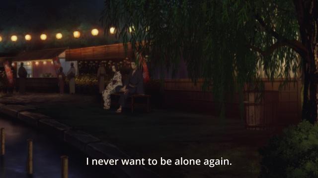 Shouwa Genroku Rakugo Shinju anime Episode 8 - Miyokichi tells Sukeroku (Shin) she never wants to be alone again