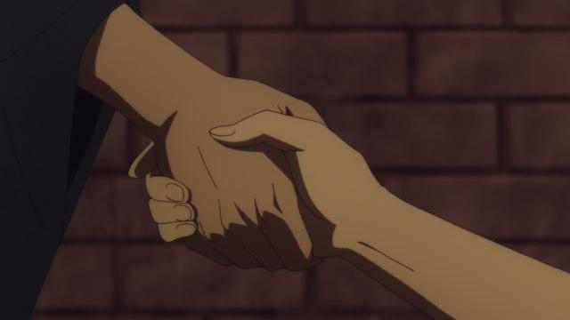 Shouwa Genroku Rakugo Shinju anime Episode 8 - Yakumo (Kikuhiko/Bon) and Sukeroku (Shin) clasp hands