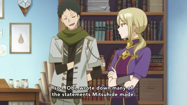 Akagami no Shirayuki Hime anime Episode 23 - Obi wrote down Mitsuhide's misdeeds.