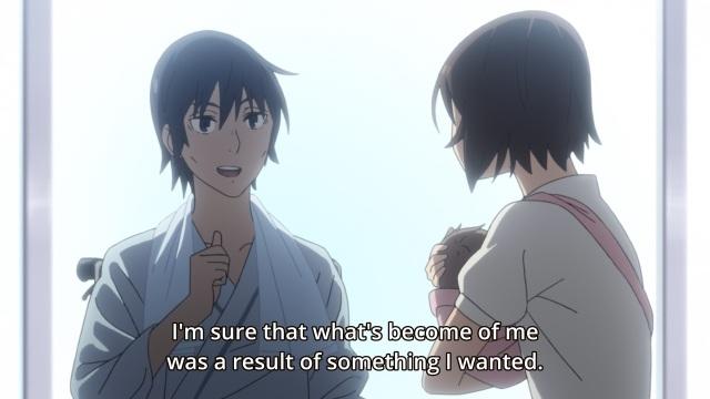 Boku dake ga Inai Machi / ERASED anime Episode 11 - Adult Fujinoma Satoru tells adult Hinazuki Kayo he's where he ended due to his own decisions.
